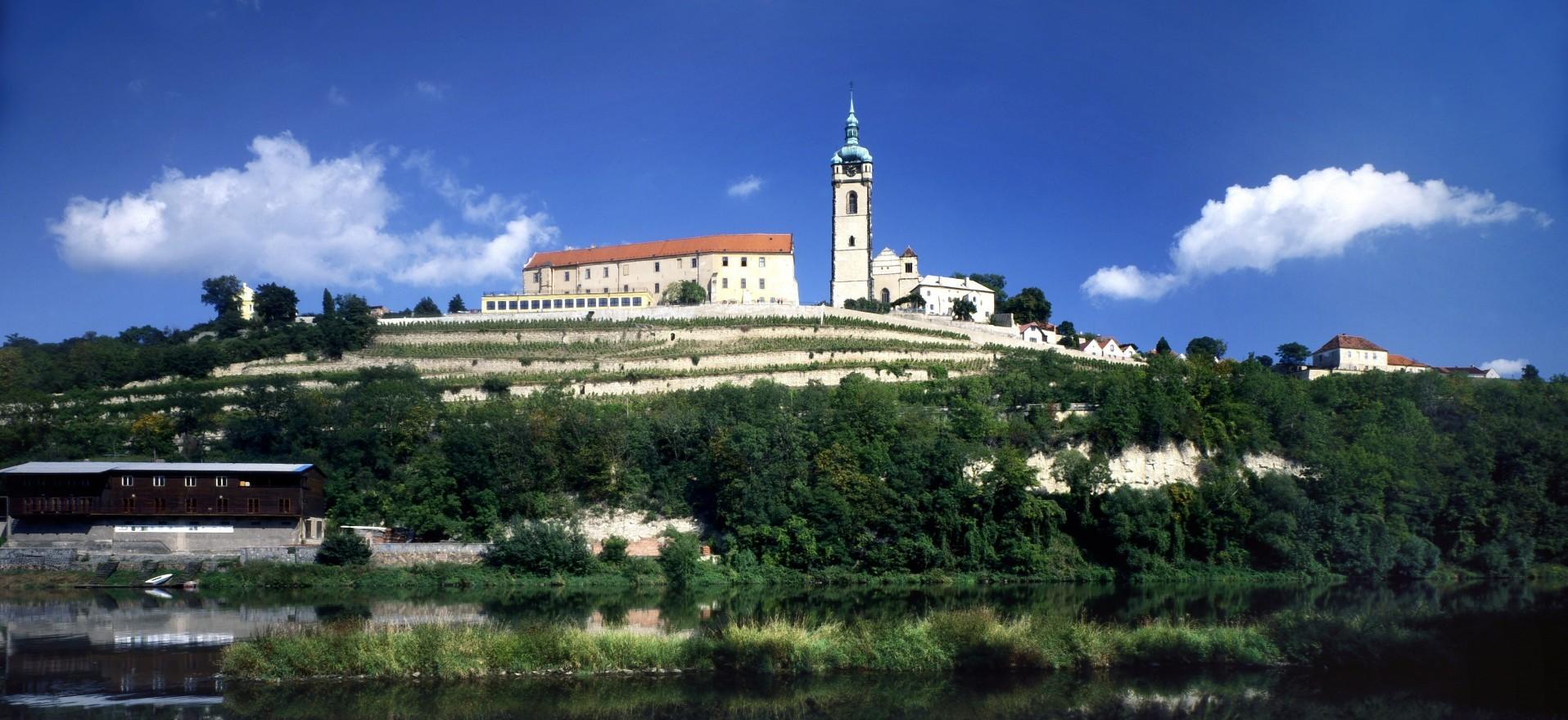 Melnik Castle above the Elbe River